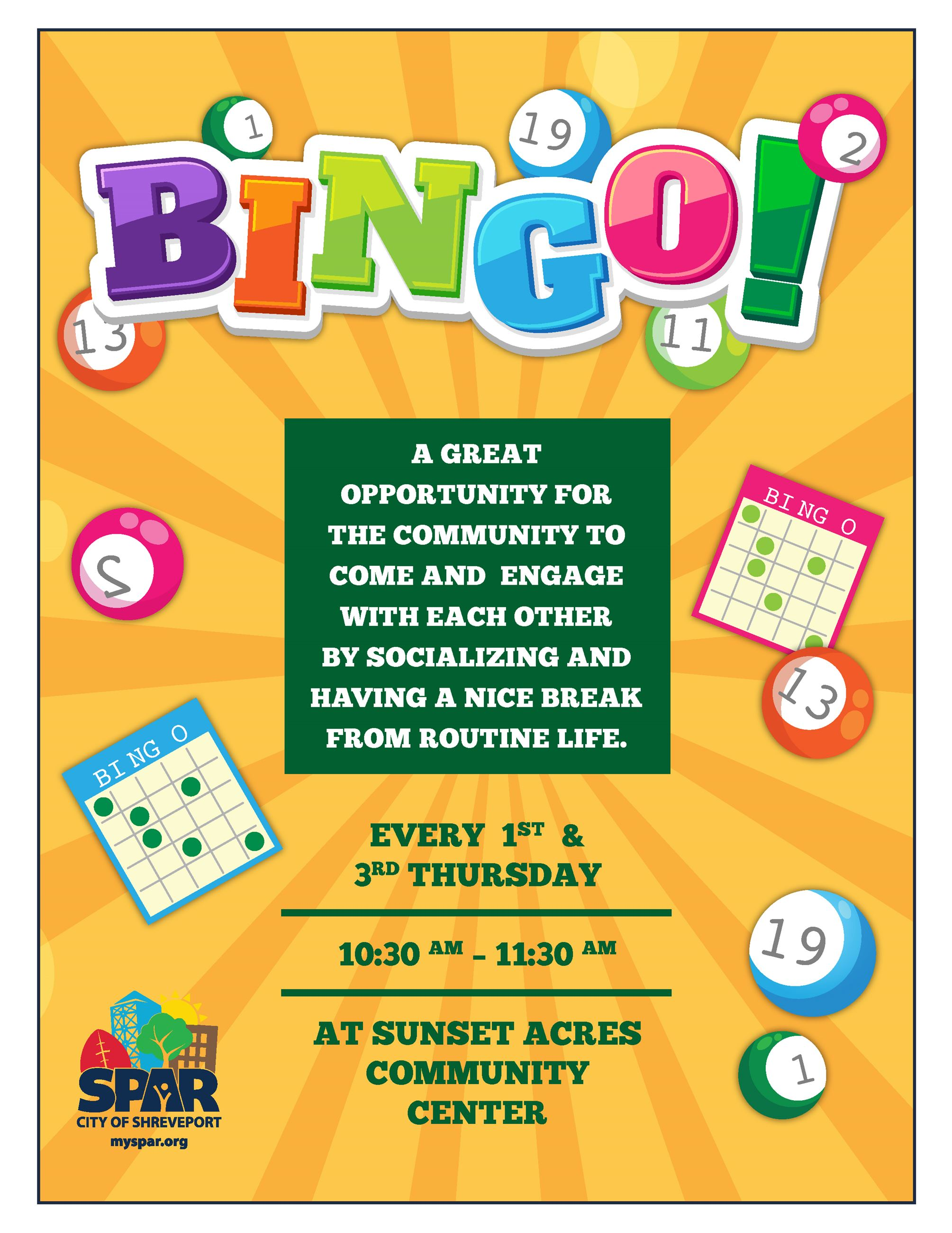sunset acres bingo