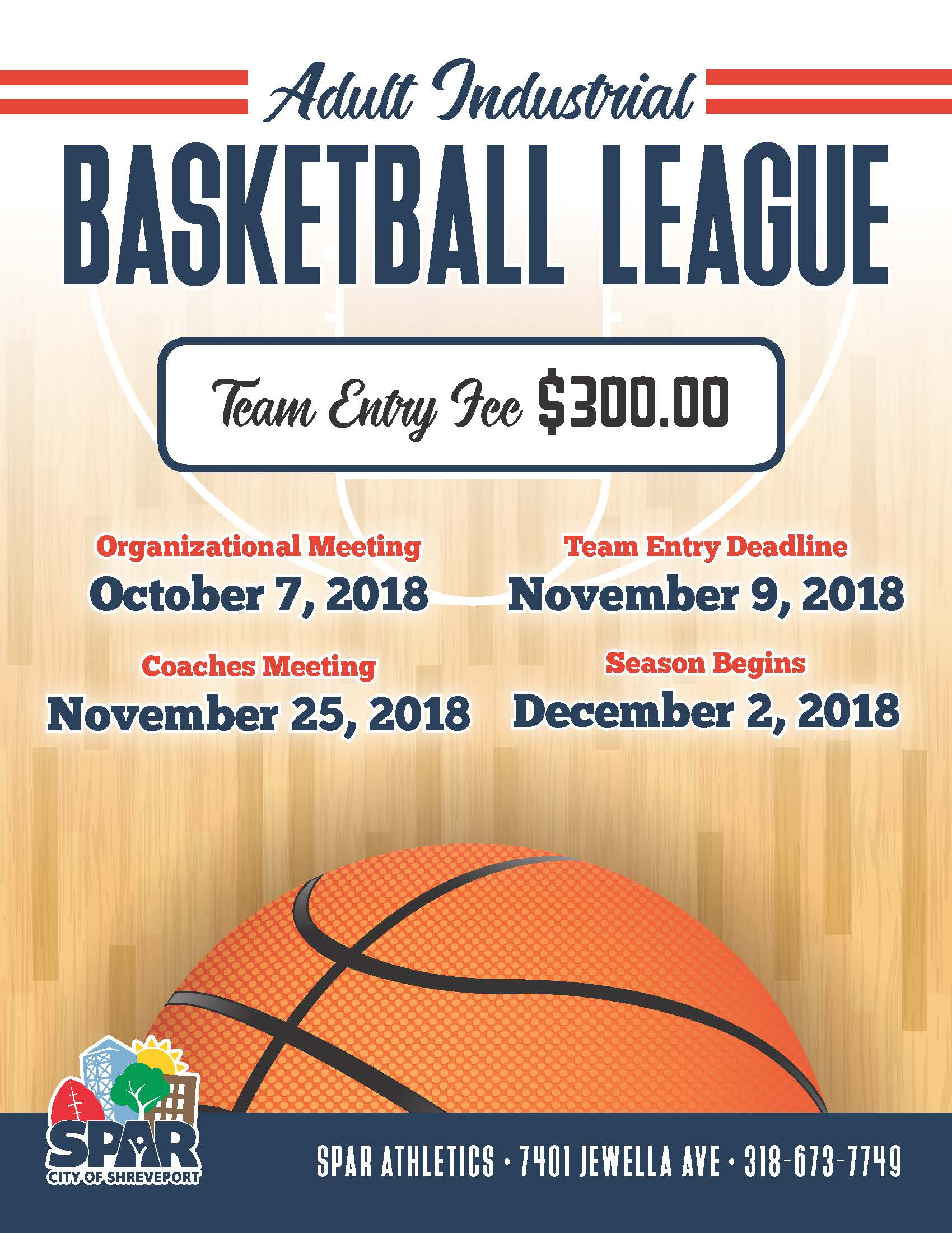 2018 SPAR Athletic - Adult Industrial Basketball League flyer