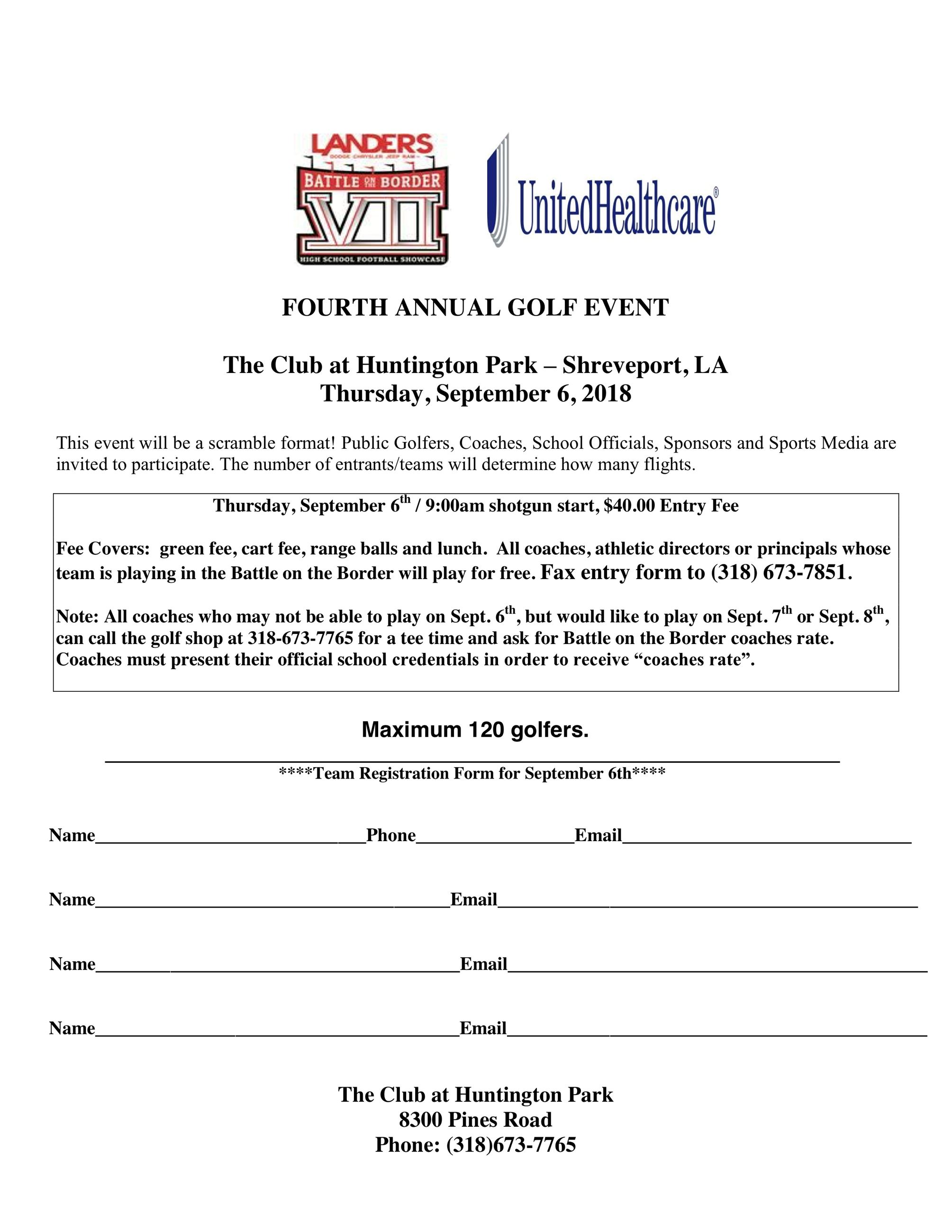 Battle on the Border golf registration form-2018