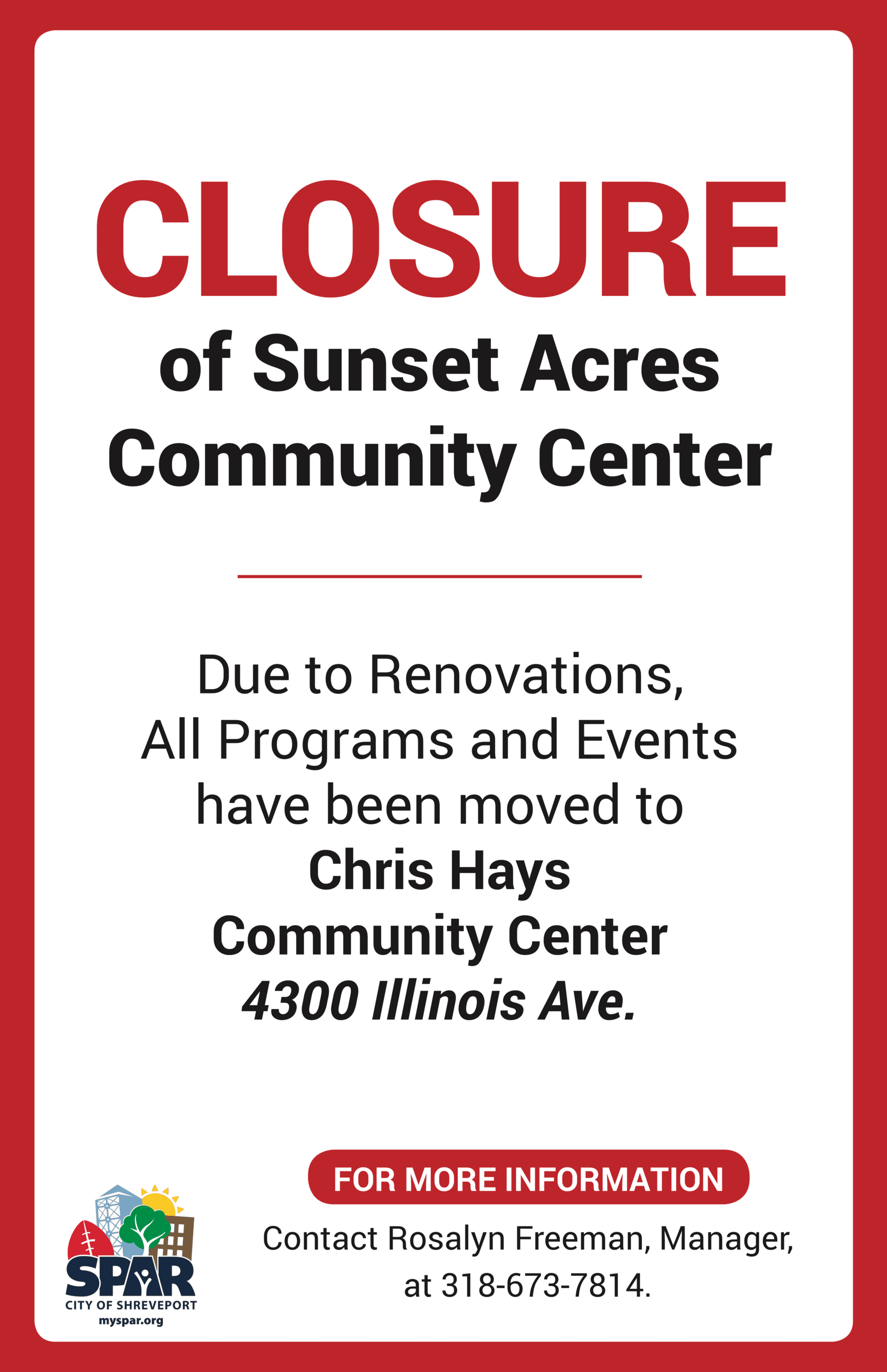2018 11 Sunset Acres closure poster