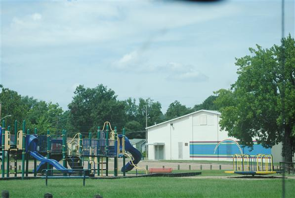 Hattie Perry Community Center playground and building