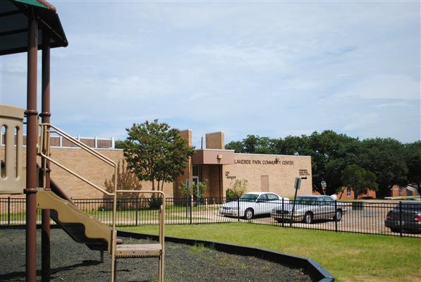 Lakeside Park and Community Center playground, parking lot, and building