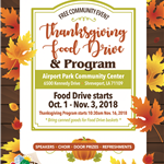2018 10 Thanksgiving Program Food Drive flyer